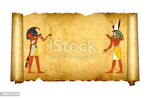 istock Old parchment with Egyptian gods images Toth and Horus 996340788