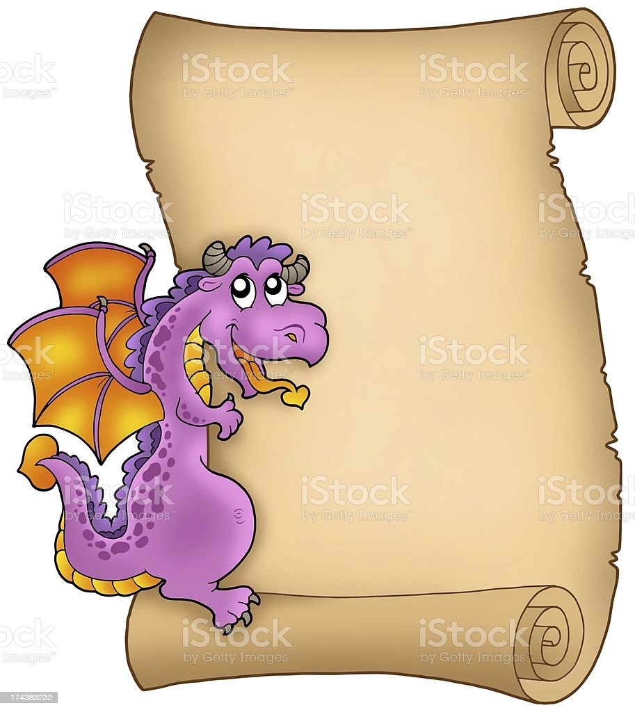 Old parchment with lurking dragon royalty-free stock photo