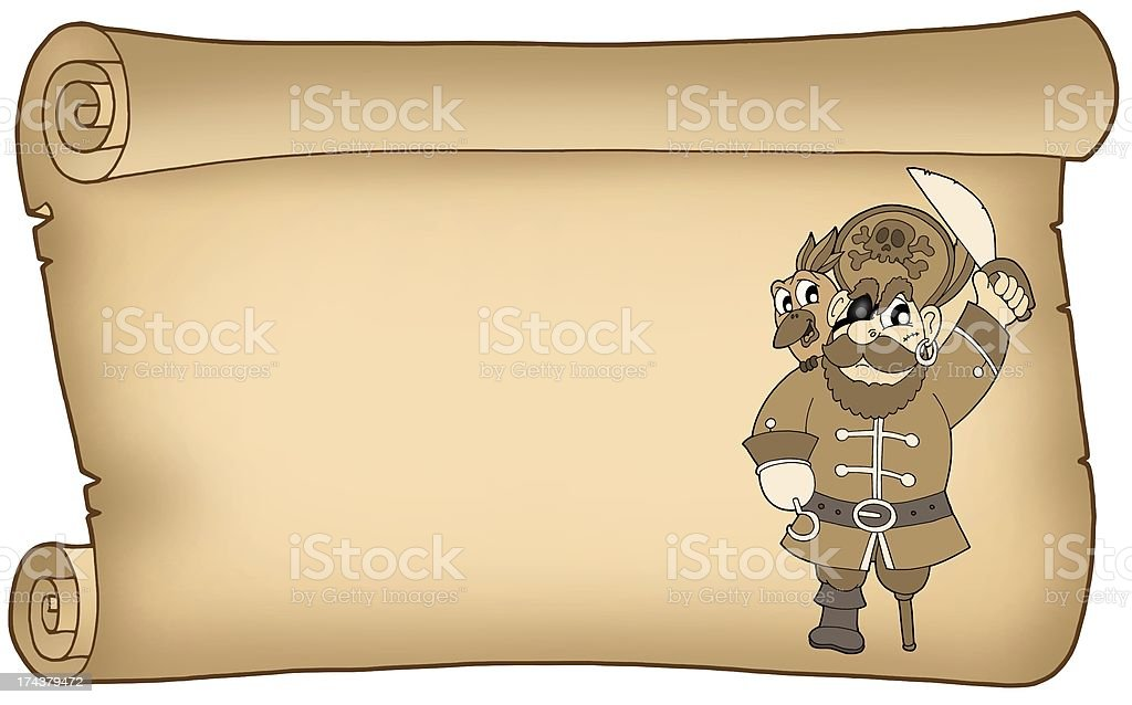 Old parchment with pirate royalty-free stock photo