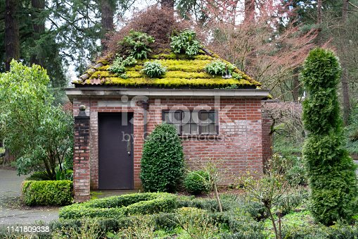 Historic Public Restroom in City Park with Garden on Roof - Portland, Oregon, USA