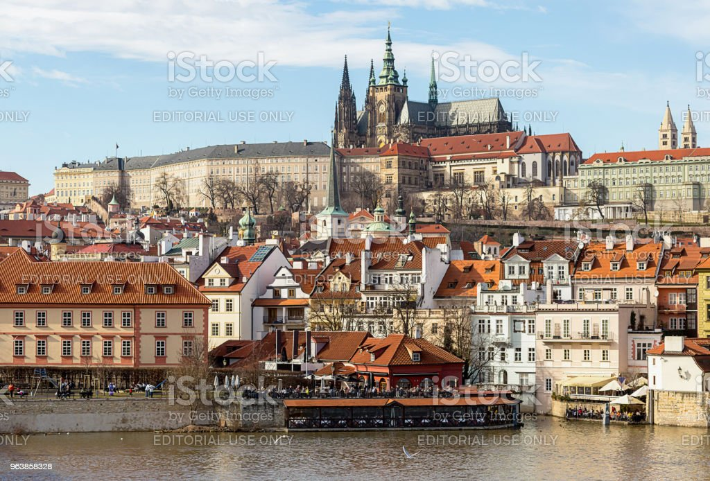 old part of the city of Prague. The small country of the river Vlatva and the cathedral of St. Vitt is a panoramic view. Czech Republic Prague February 2017 - Royalty-free Architecture Stock Photo
