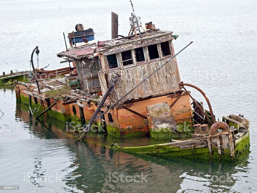Old Partially Submerged Boat Gold Beach the Mary D. Hume royalty-free stock photo