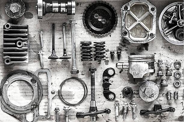 오래된 오토바이 배경기술 부품 - 예비 부품 뉴스 사진 이미지