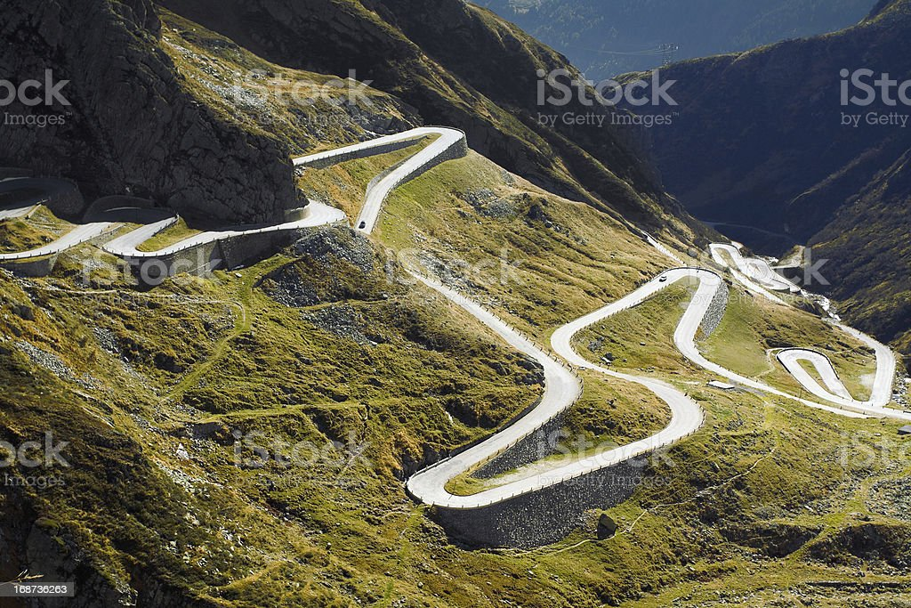 Old pass street uphill to San Gottardo stock photo