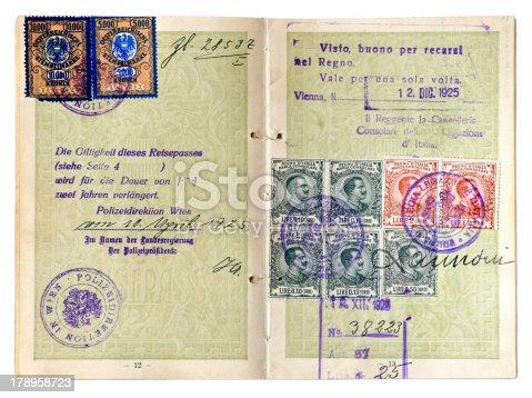 Old multi-stamped European passport dated 1925.