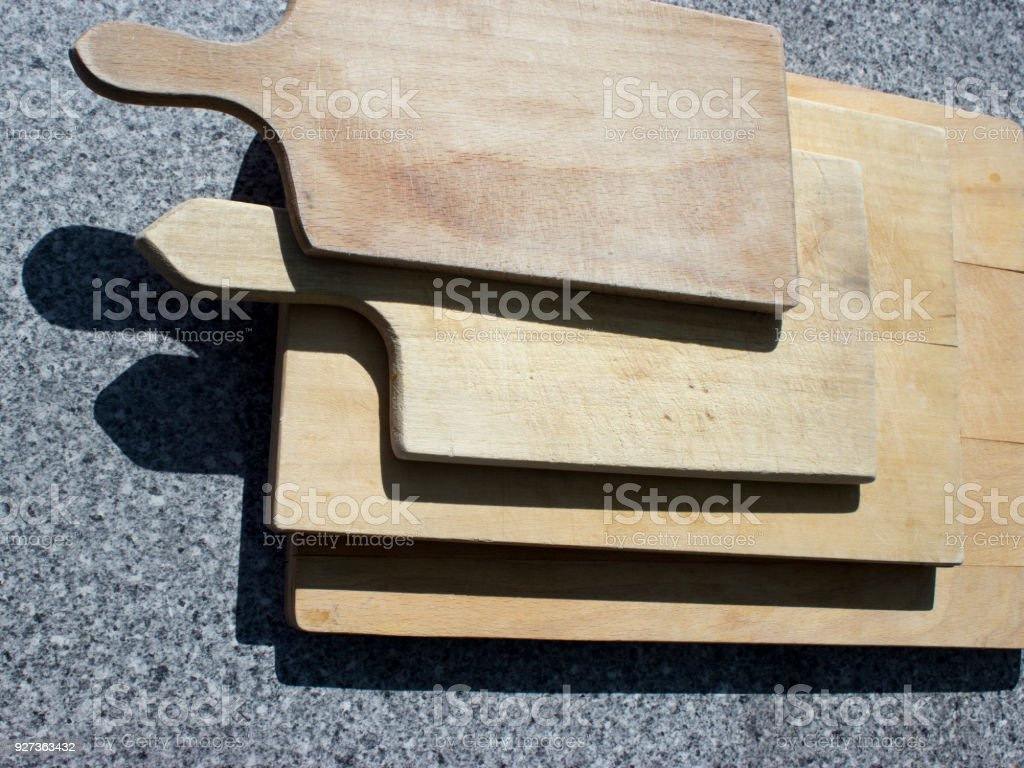Old pastry boards on the table - Royalty-free Above Stock Photo
