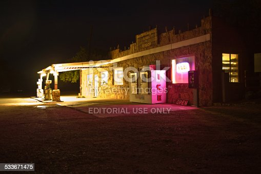 Marble Canyon, USA - July 14, 2008: old patrol station by night at marble Canyon, USA. The Cliff Dwellers Lodge and Station is in the heart of Lees Ferry, Glen Canyon Recreational Area.