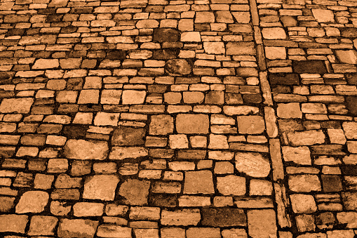Old Pavement In Brown Color Background And Texture Stock