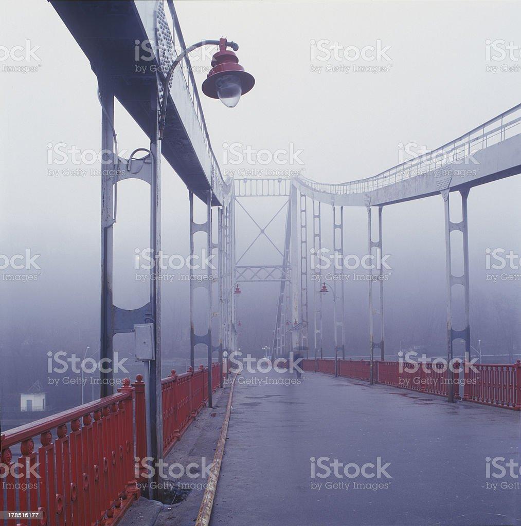 Old pedestrian bridge in Kiev stock photo