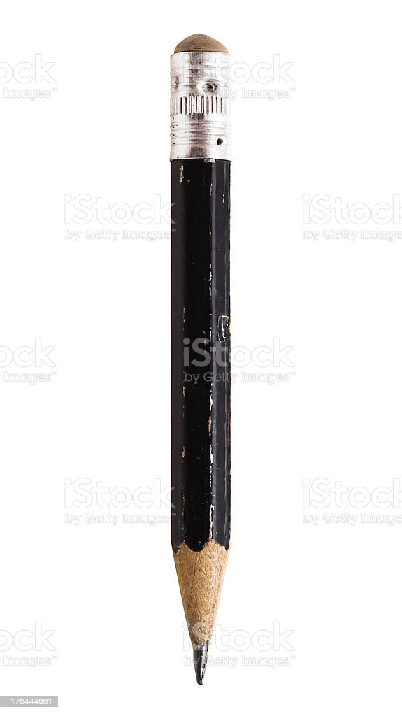 Old pencil isolated on white background stock photo