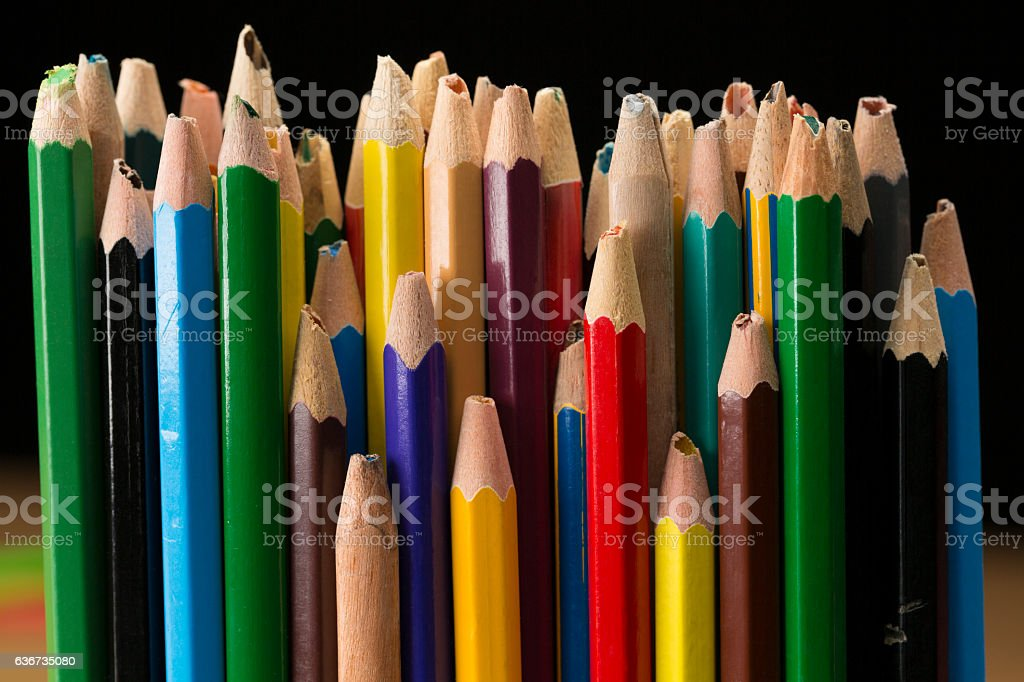 Old Pencils, Used Broken Pencil Snapped Tip, Team Stress Concept stock photo