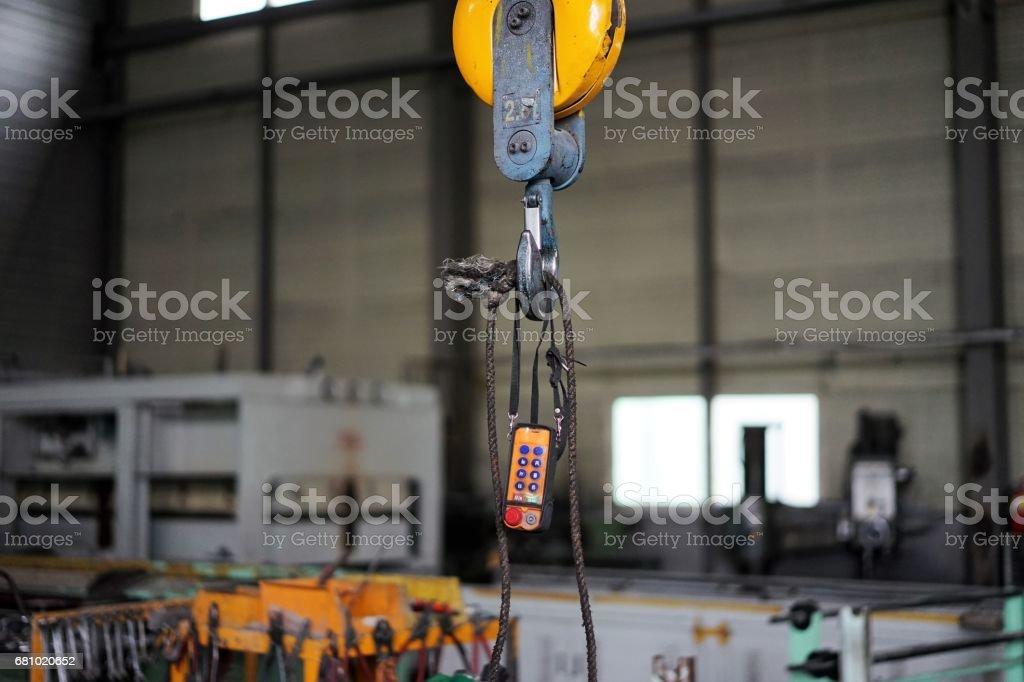old pendant switch of hoist crane royalty-free stock photo