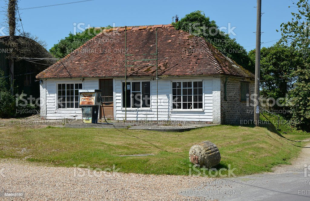 Old Petrol station in East Dean, Sussex, England stock photo