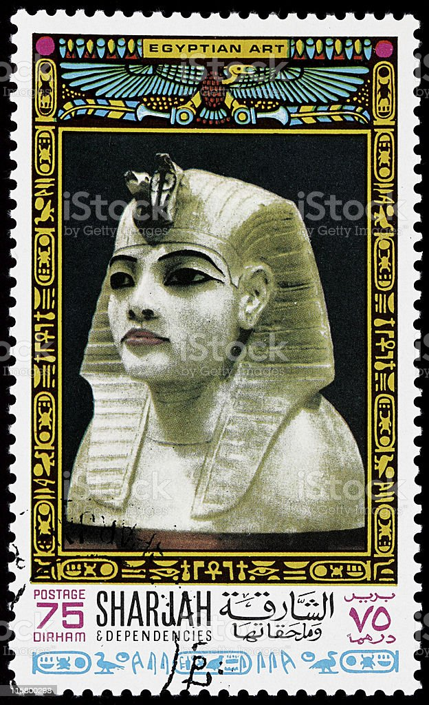 Old pharaoh stamp stock photo