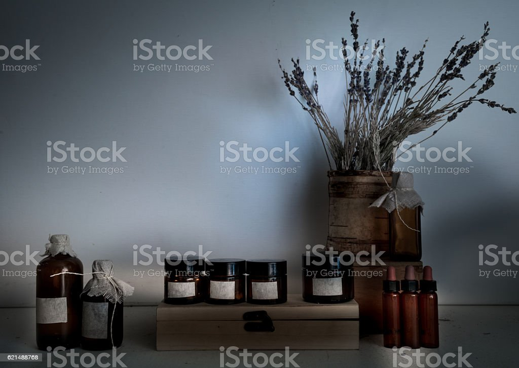 old pharmacy. bottles, jars, bouquet of dry lavender on wooden foto stock royalty-free