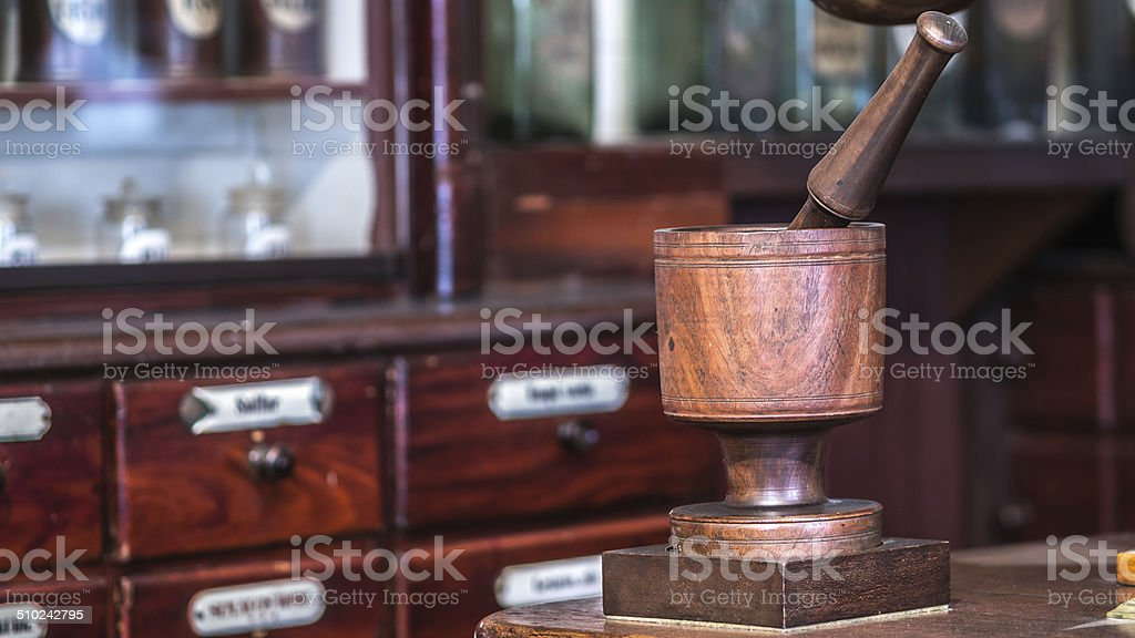 Old pharmacy mortar and pestle stock photo