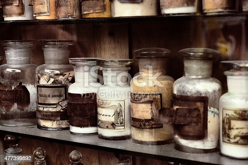 Cupboard with drugs in the old pharmacy
