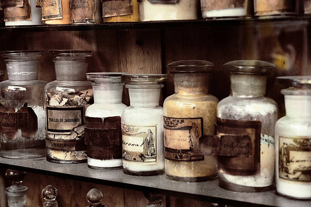 Old pharmacy Cupboard with drugs in the old pharmacy antediluvian stock pictures, royalty-free photos & images