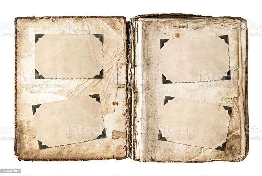 old photo album page with frames and corners old photo album page with frames and corners isolated on white background Photo Album Stock Photo