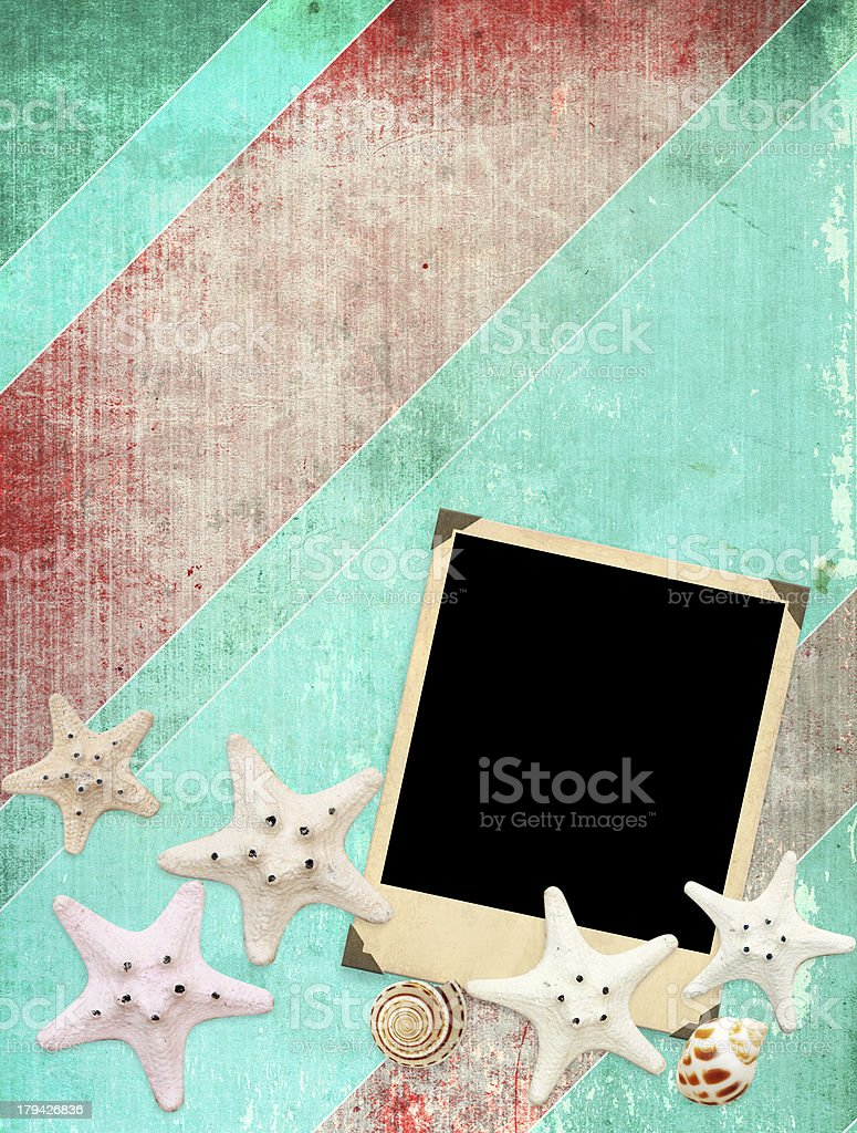 Old photo and starfishes royalty-free stock photo