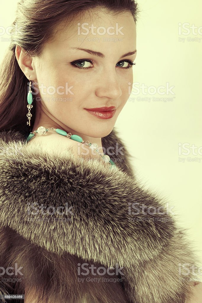Old photo brunette stock photo
