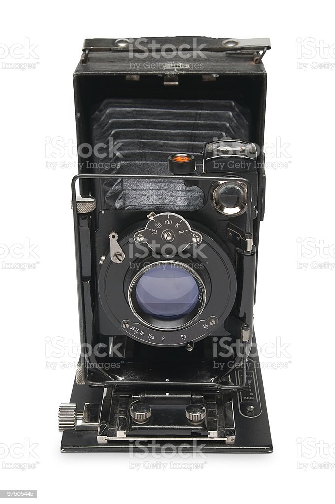 Old photo camera on a white background royalty-free stock photo
