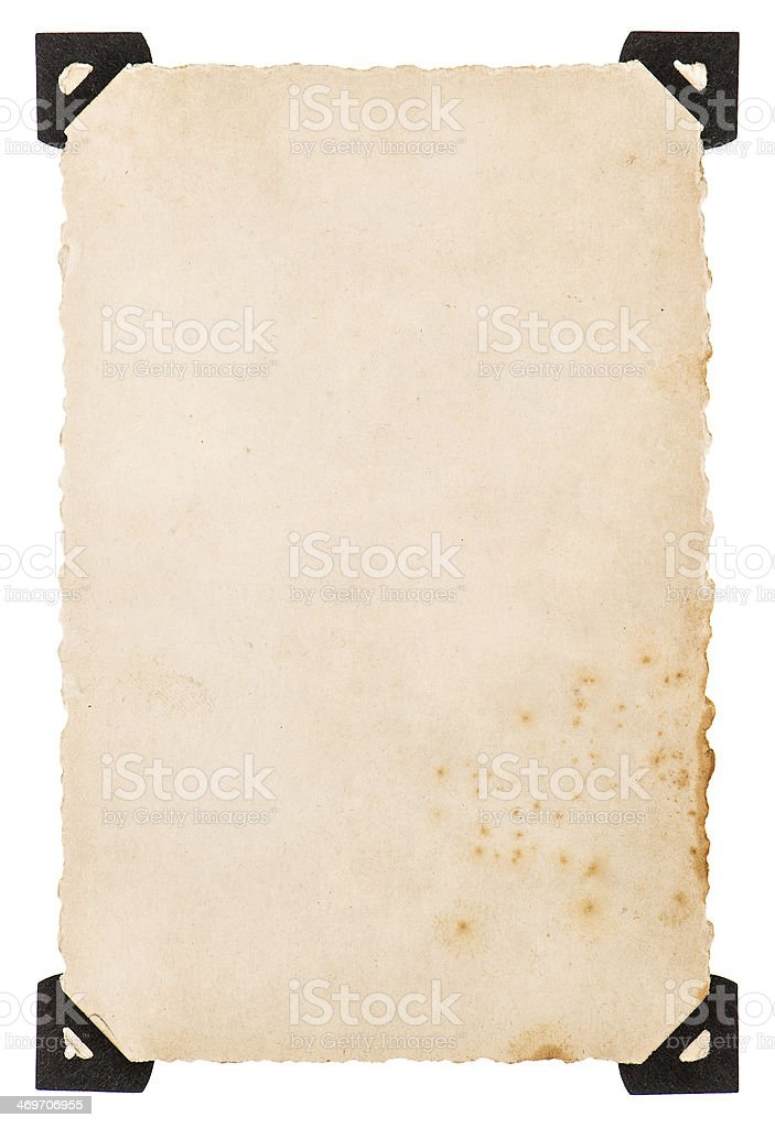 old photo card with black corner isolated on white royalty-free stock photo