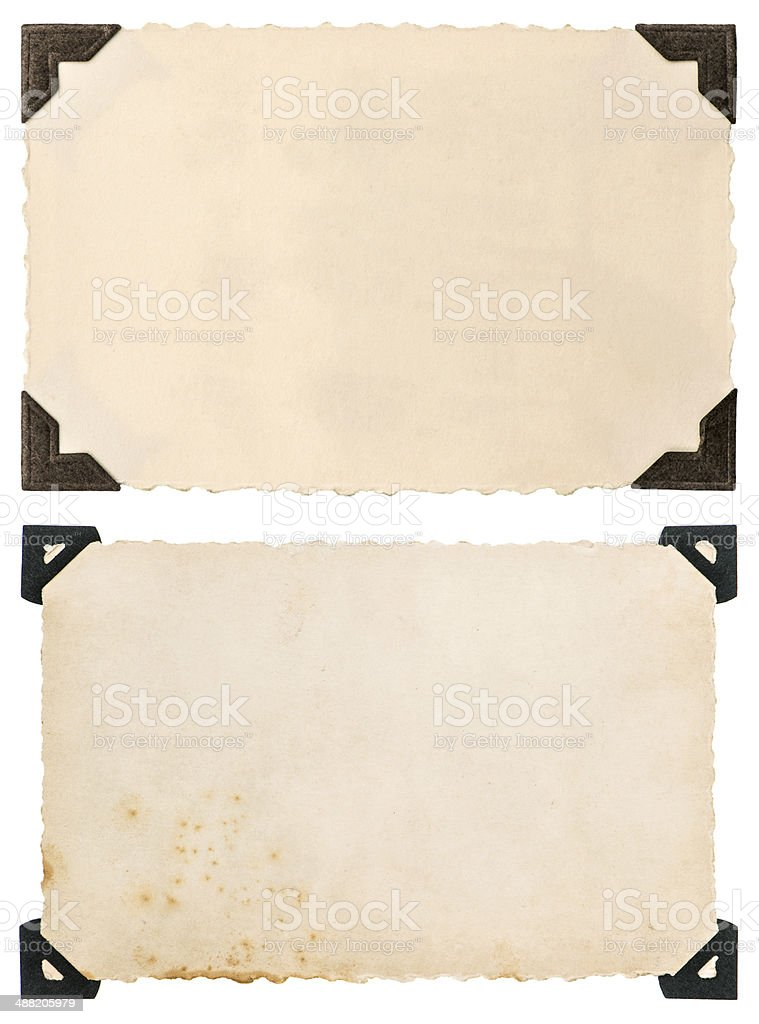 old photo card with corner isolated on white stock photo
