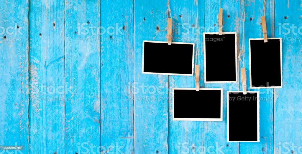old photo frames, free space for pics stock photo