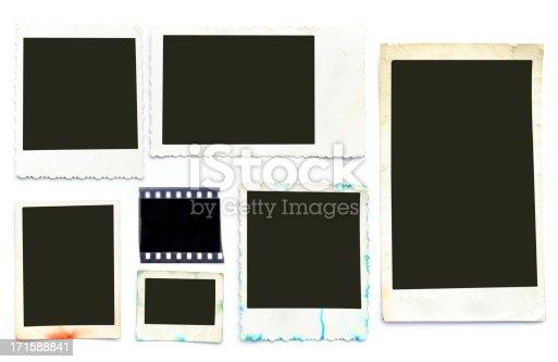 Group of vintage photo frames on white