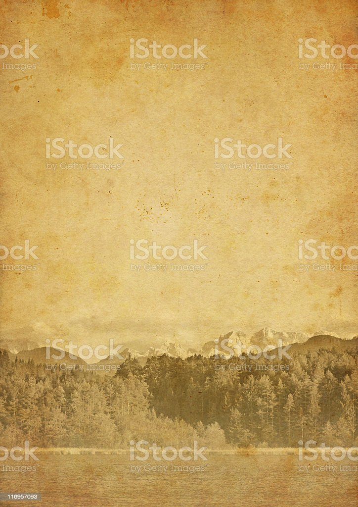old photo of a landscape with mountains and lake royalty-free stock photo