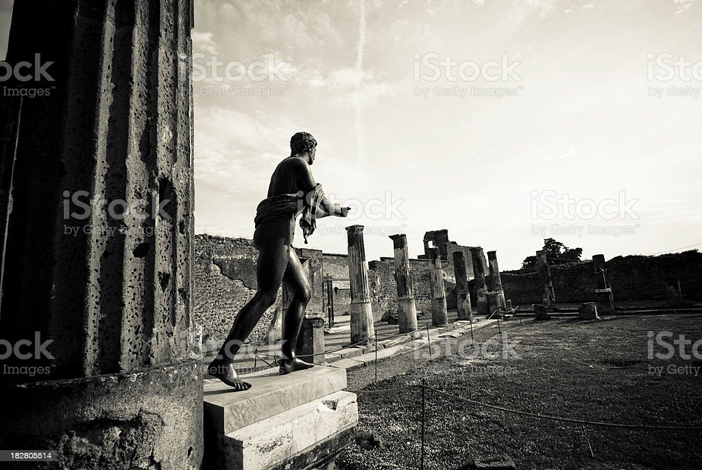 Old photo of Apollo Temple ruins, Pompeii royalty-free stock photo