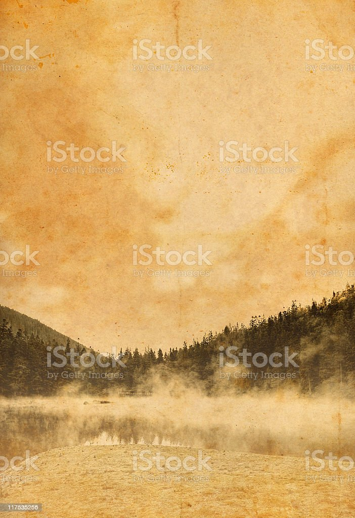 old photo of mountains and lake royalty-free stock photo