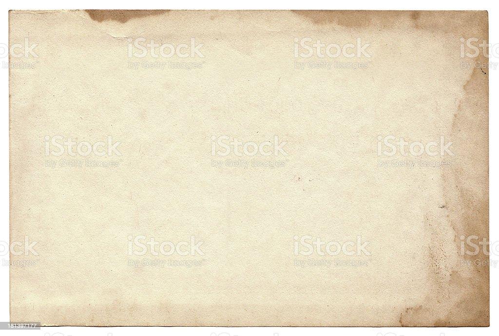 Old photo on white background. Vintage empty postcard texture stock photo