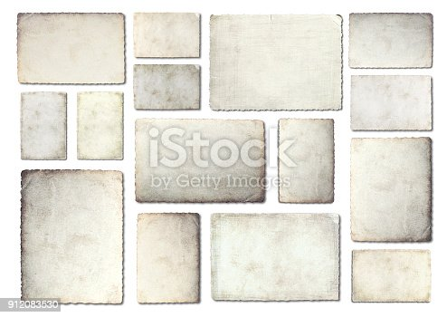 882302538istockphoto Old photo paper. Collection of various old photo on white background. 912083530