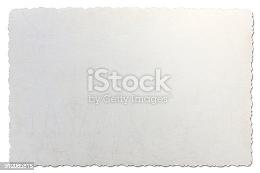 882302538istockphoto Old photo paper texture with scratches isolated on white background. 912065816