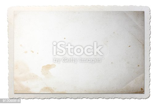 882302538istockphoto Old photo paper texture with scratches isolated on white background. 912065818