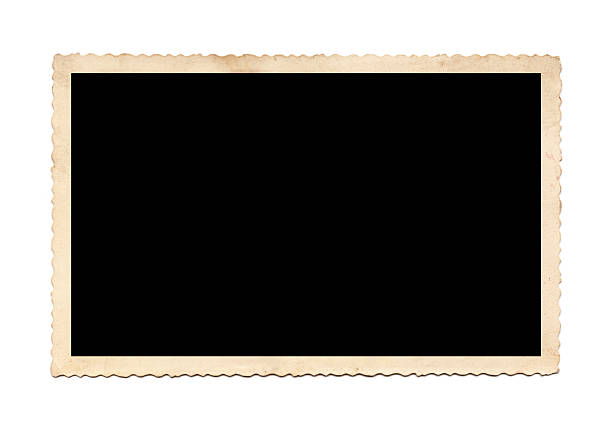 Old Photo Antique photo frame, wave edges, isolated on white background photography stock pictures, royalty-free photos & images