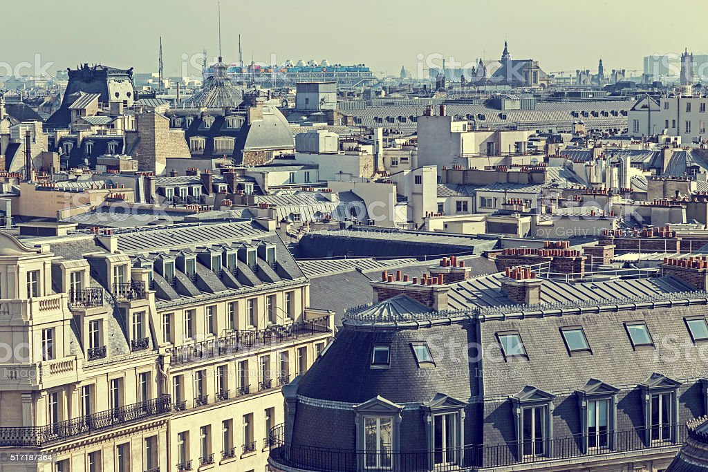 Old photo with aerial view and roofs in Paris stock photo