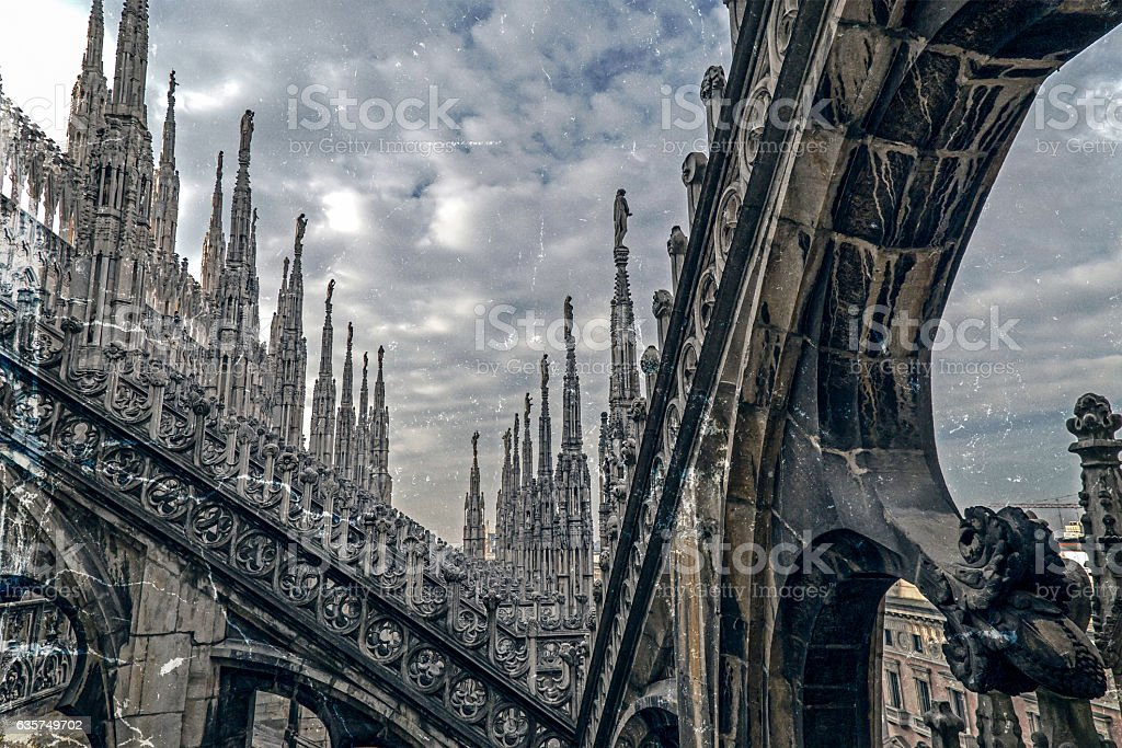 Old photo with architectonic details from roof of Milan Cathedral stock photo