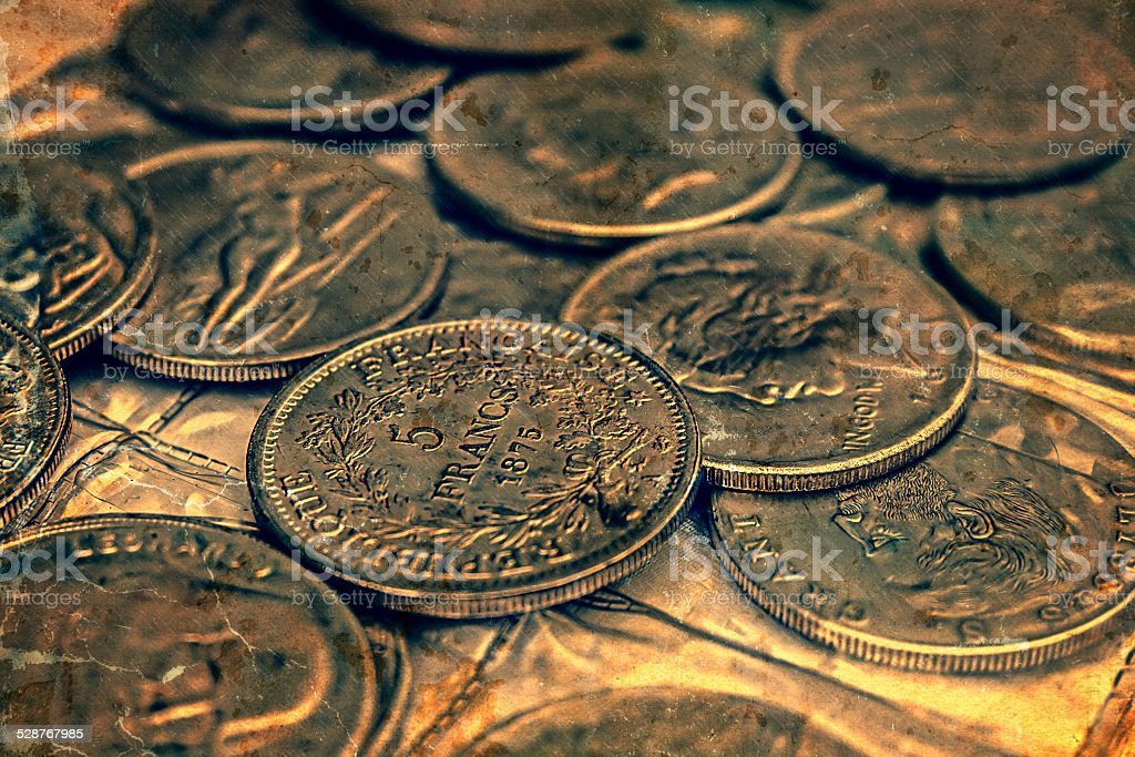 Old photo with coins stock photo