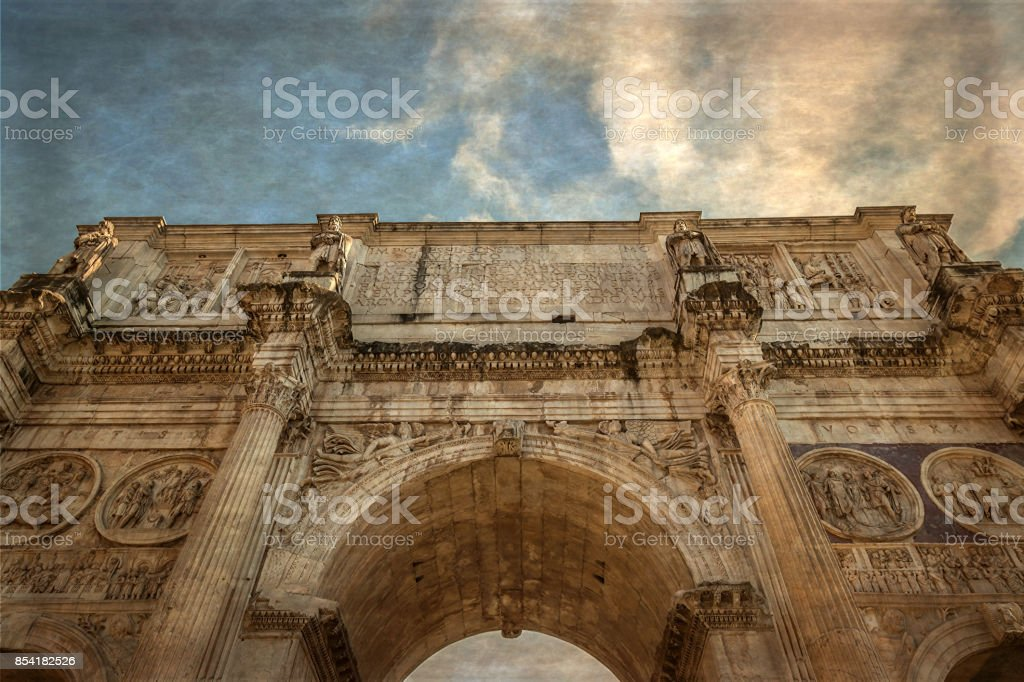 Old photo with view of the arch of Constantine in Rome, Italy stock photo