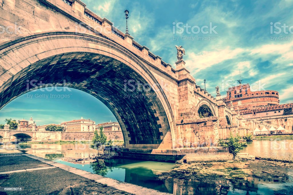 Old photo with view over Castel St. Angelo Bridge stock photo