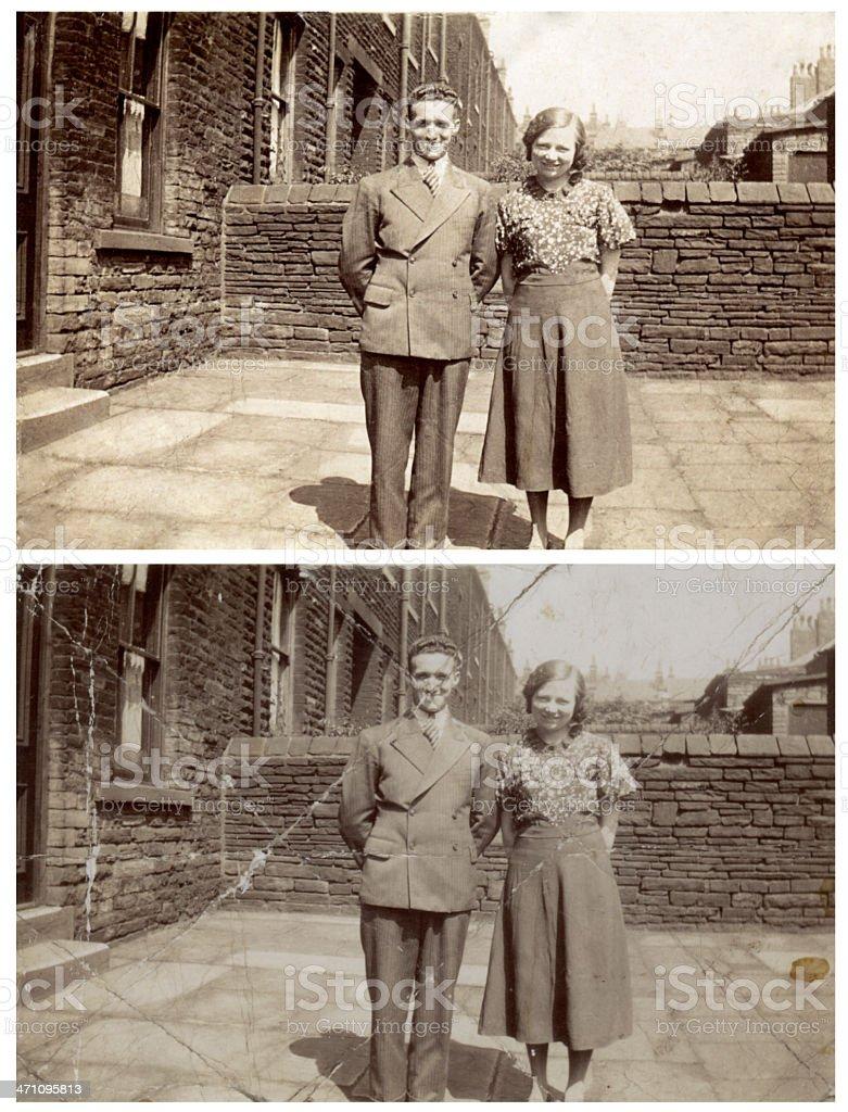 Old photograph restoration royalty-free stock photo