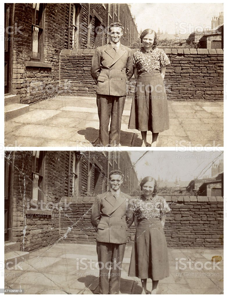 Old photograph restoration stock photo