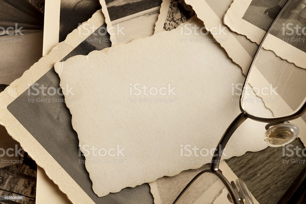 Old photographs with glasses royalty-free stock photo