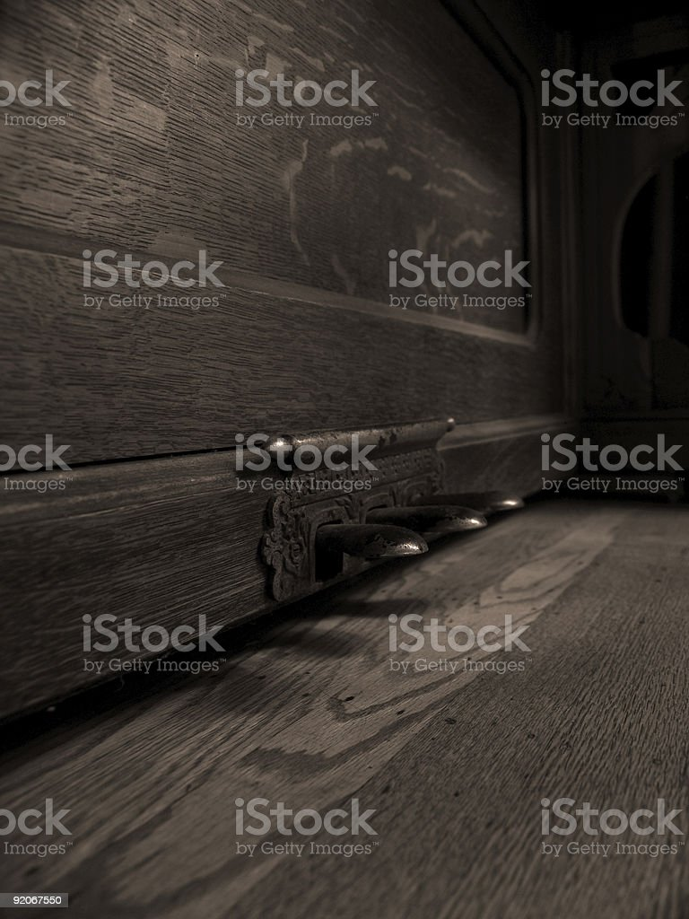 old piano foot pedals and wood floor royalty-free stock photo
