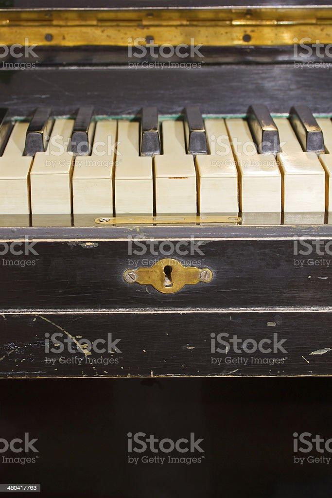 old piano keyboard stock photo