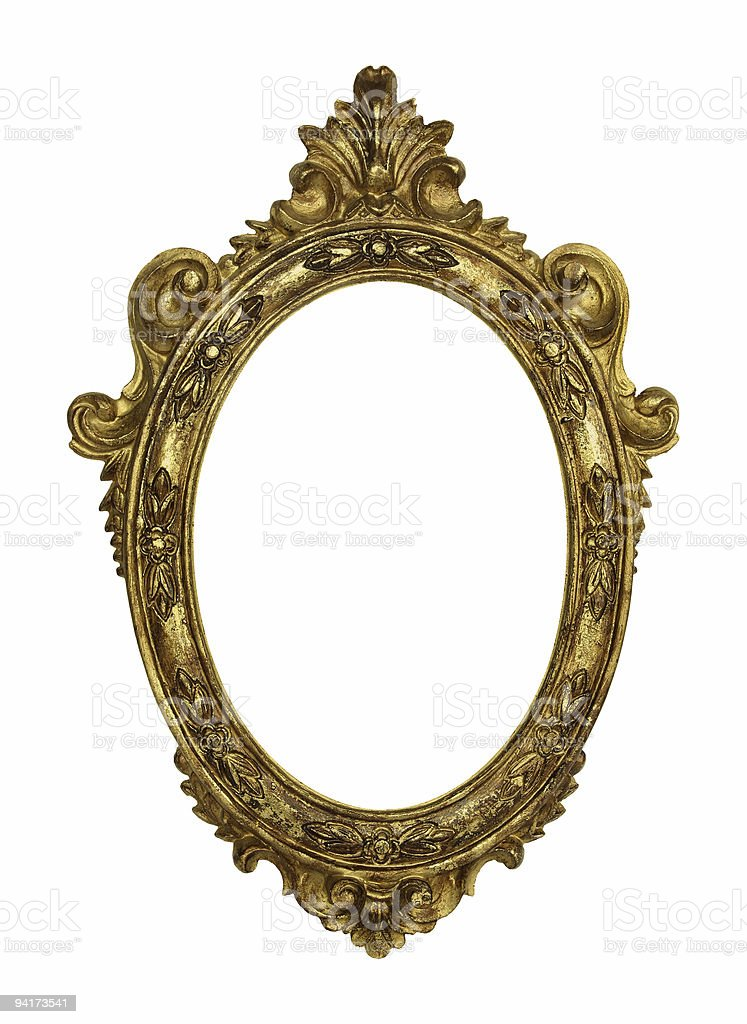Old picture frame on white background stock photo