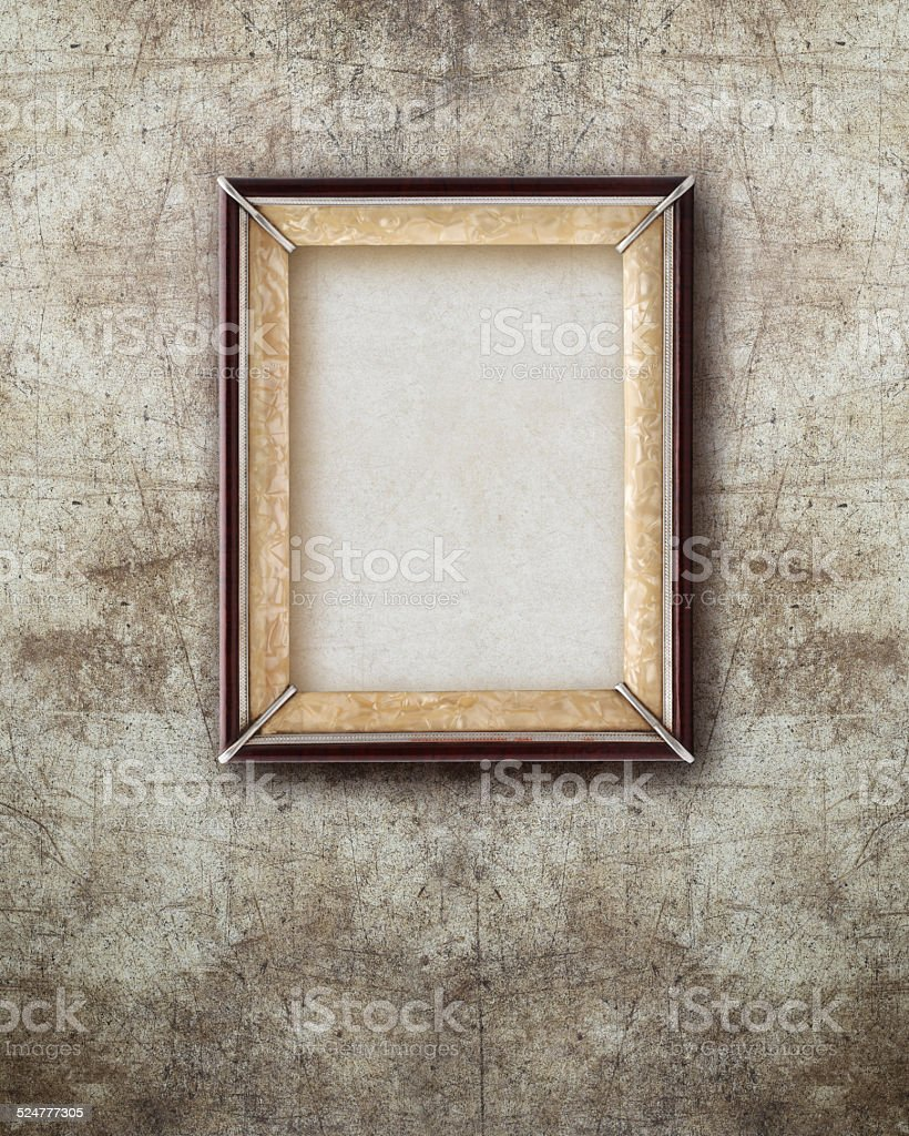 Old Picture Frame Wood Isolated On Ruined Wall Effect Background ...